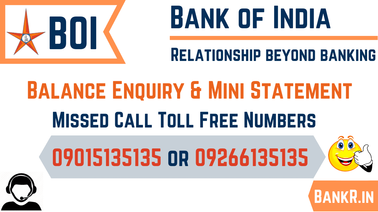 bank of india balance enquiry number, sms alert, mini statement, toll free number