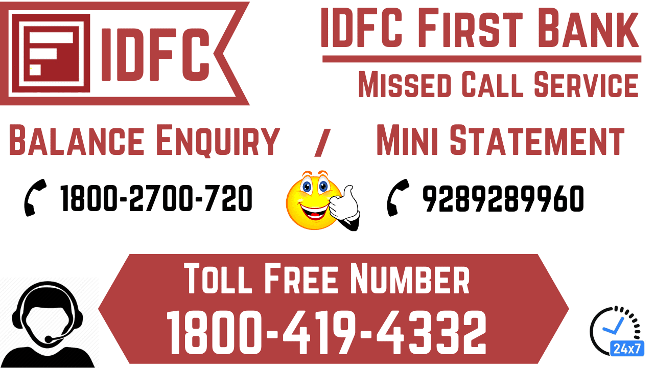 idfc first bank balance enquiry number