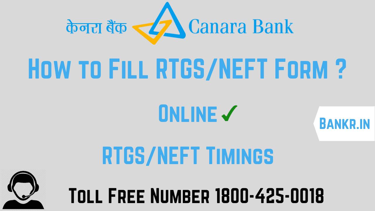canara bank rtgs neft pdf form