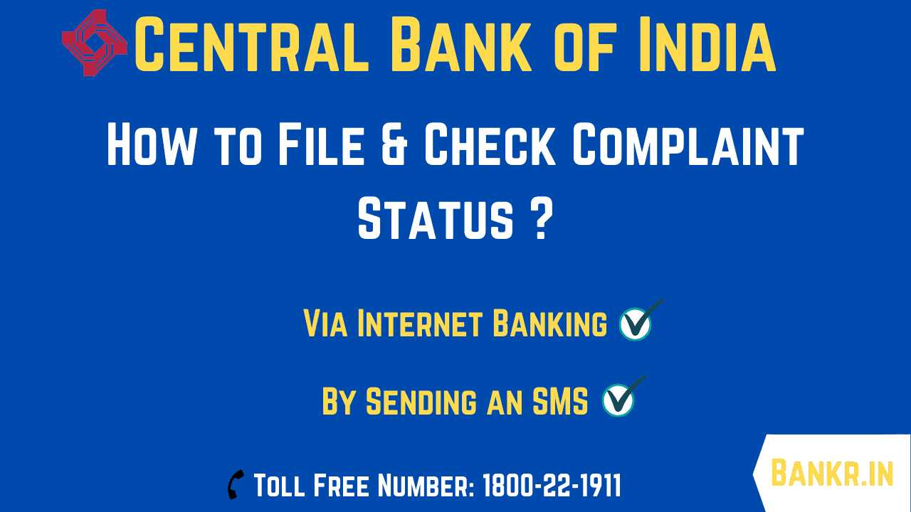 central bank of india complaint status