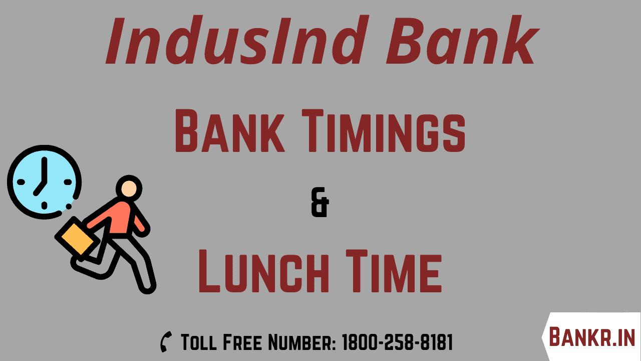 indusind bank timings