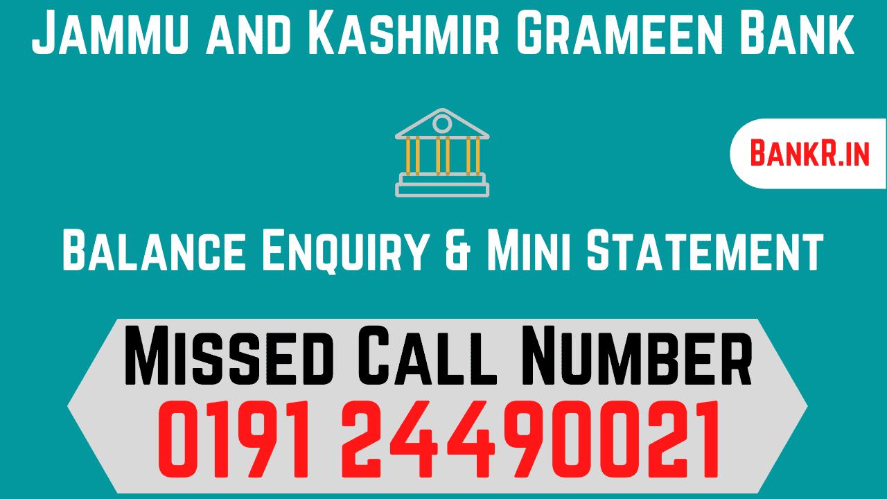jammu and kashmir gramin bank balance enquiry number
