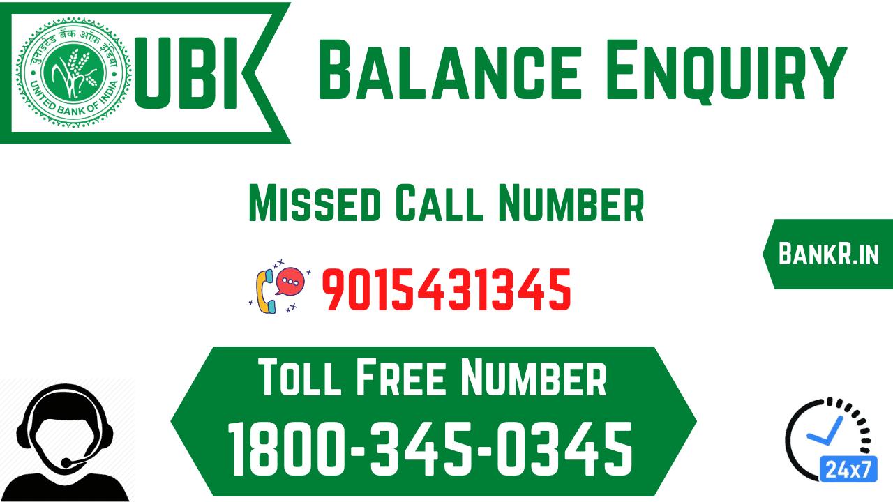 united bank of india balance enquiry number
