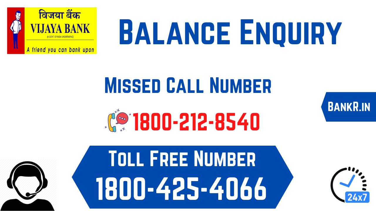 vijaya bank balance enquiry number