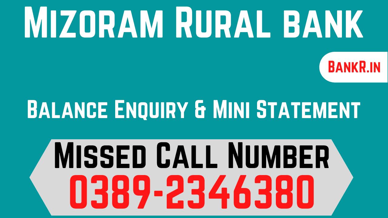 mizoram rural bank balance enquiry number