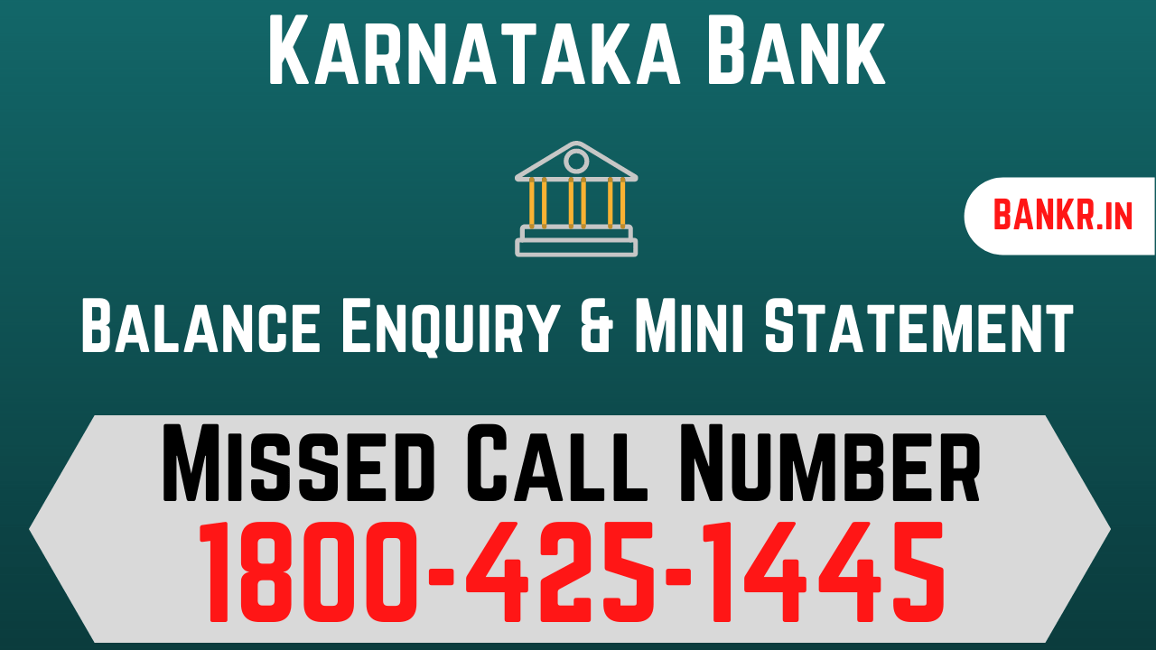 karnataka bank balance enquiry number