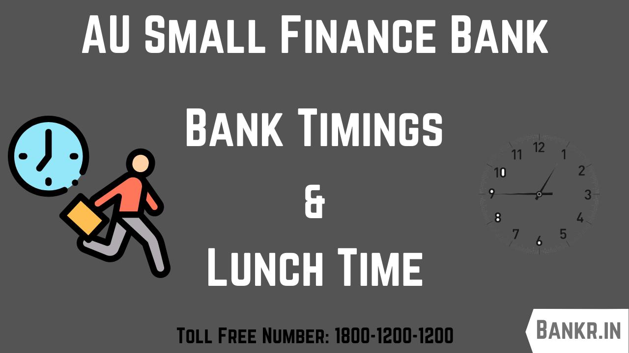 au small finance bank timings