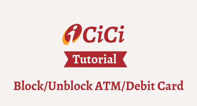 block unblock icici debit atm card